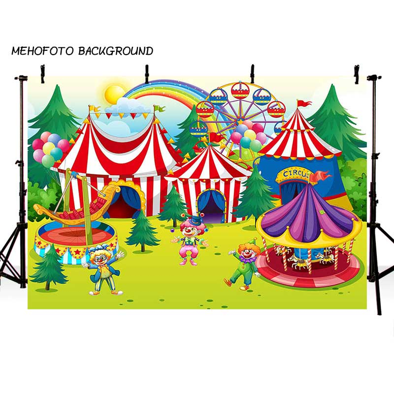 MEHOFOTO Children Circus Birthday Party Photo Background 7x5ft Thin Vinyl Photography Backdrops for Photo Studio Custom LV-086 circus banner party backdrops vinyl cloth computer printed children photo background circus