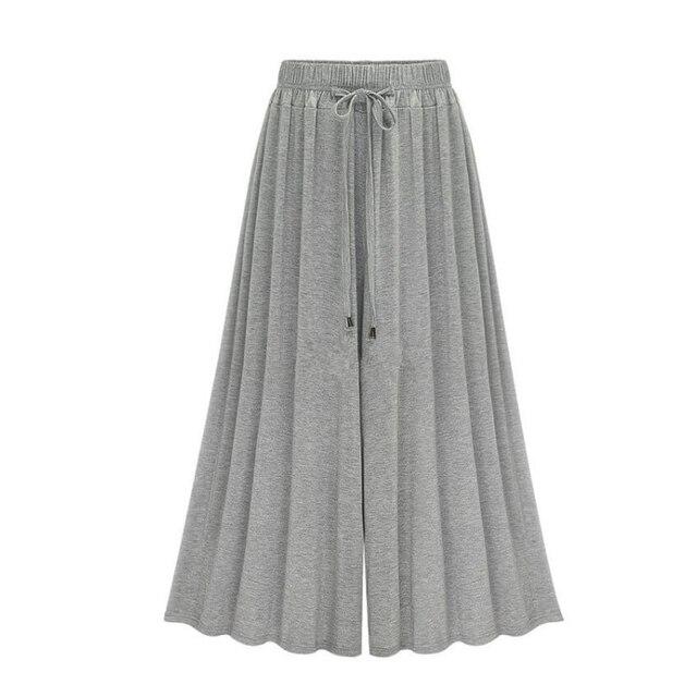39069356e1 MOBTRS Moda Plus Size Mulheres Casuais Calças Harém Soltas Perna Larga  Palazzo Culottes Esticar de Vestuário Feminino