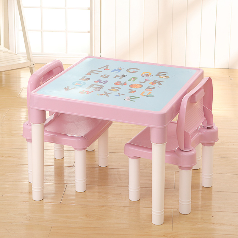 Folding Children Table Chair Baby Learning Tables Chair Set Children Plastic Table Toy Game Table Kids Desk Cute