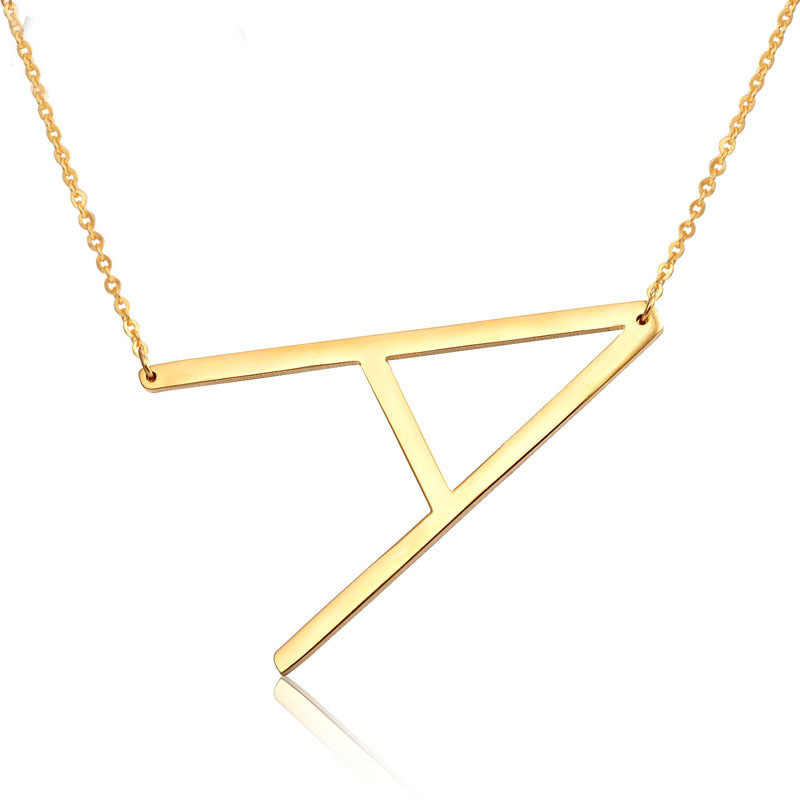 Lateefah Fashion 26 Letter Necklaces Pendants alphabet 3 Color Stainless Steel Choker Initial Necklace Women Girl Jewelry