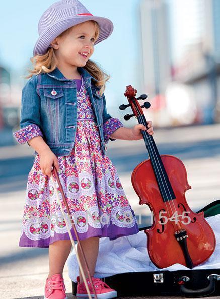 Moda 2015 otoño conjuntos de mezclilla para chicas Jeans Jacket + impresión vestido 2 unid juegos del bebé embroma la ropa muchacha de los niños que arropan sistemas