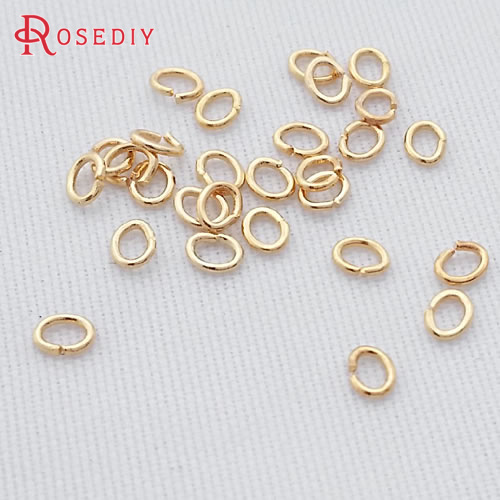 (29088)2g,about 150PCS 3*2MM 24K Champagne Gold Color Plated Oval Brass Jump Rings Split Rings High Quality Jewelry Accessories