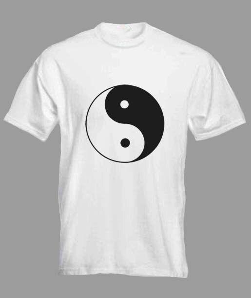 Mens White T-Shirt Buddha Ying Yang Graphical Meditation Print C29-3