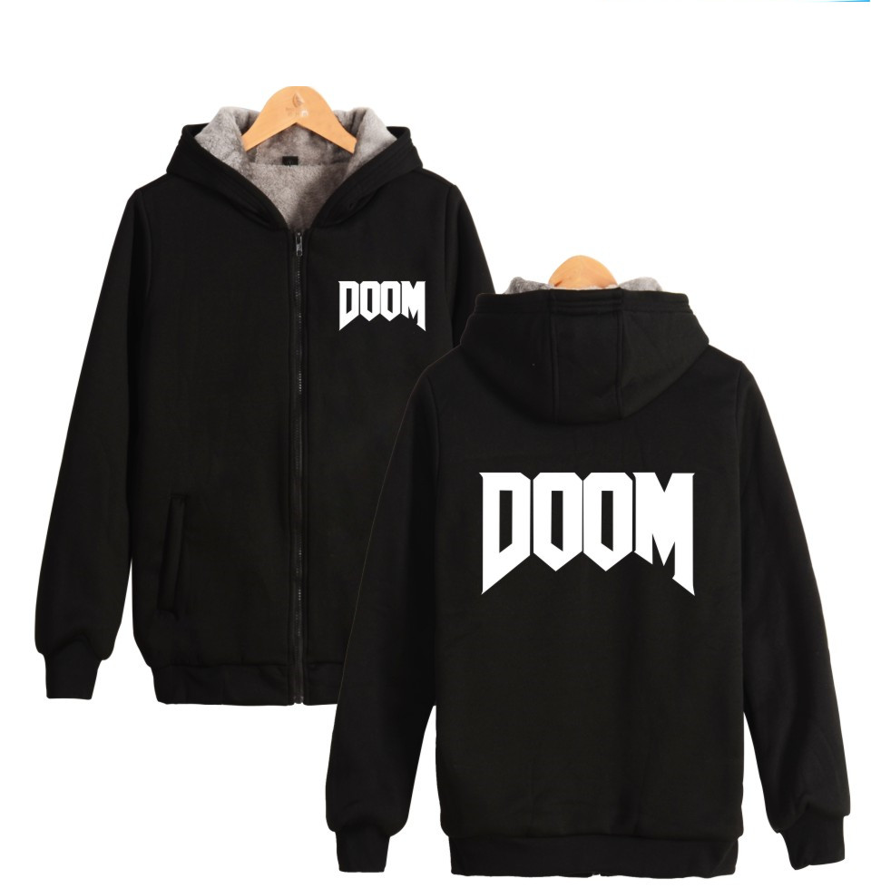 First-person Shooter Game DOOM Hoodies With Zipper Men Women Thick Warm Winter DOOM DILLA Print Hooded Sweatshirt image