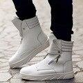 Nuevo 2016 High Top Otoño Tobillo martin botas de los hombres Grandes tamaño de LA PU de cuero zapatos casuales Botas de invierno Al Aire Libre Hombre Sapatos Homme