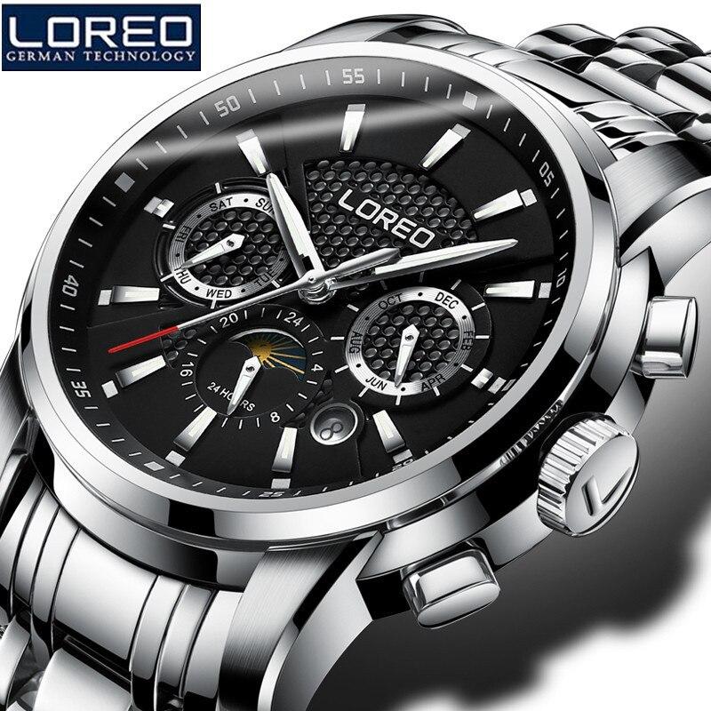 LOREO Automatic Mechanical Watches Mens Watches Relogio Masculino WristWatch Luminous Waterproof Auto Date Christmas Gift K59