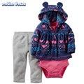 2017 Menina 3 Peça Conjunto Cardigan Roupa Do Bebê Recém-nascido Roupas de Algodão Terry Impresso Hoodies + Bodysuit + Calças Conjuntos