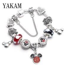 Luxury brand red mickey beads fit original pandora bangles charm Kawaii anime round bead friendship bracelets safe chain jewelry