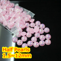 Jelly Lt.Pink AB Color 1.5mm~12mm All Size Choice Flat back ABS round Half Pearl beads, imitation plastic half pearl beads