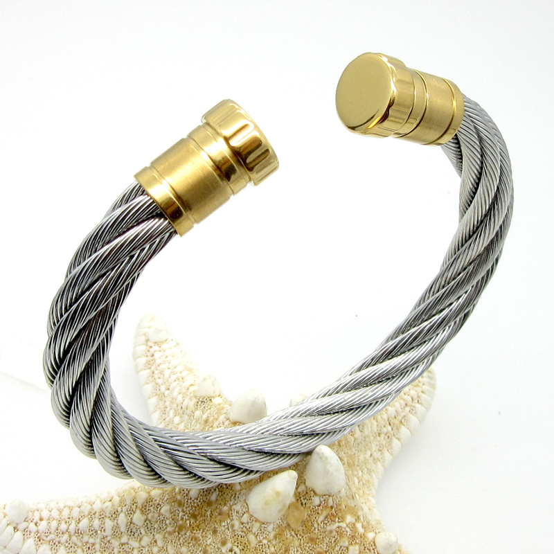 Wire Bracelets With Charms 2: 2015 New Fashion Stainless Steel Wire Twist Cable Cuff
