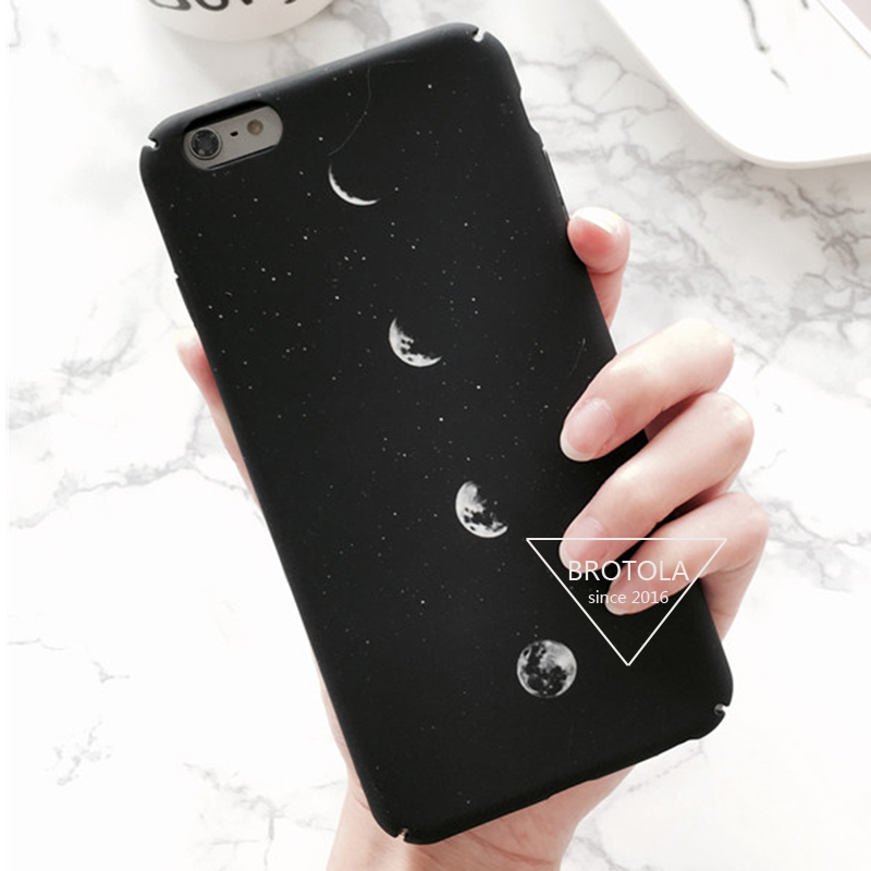 Fashion Cartoon Moon For Coque iPhone 6 Case iphone 7 Plus Case 6s Eclipse Hard PC Matte Phone Cases Back Cover Capa