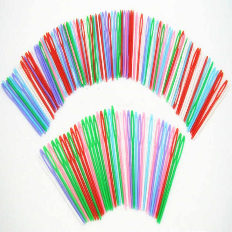 20Pcs/Set Mixed Color Plastic Knitting Needles Home Patchwork Seam Sewing Tool Needlework Needle Arts & Crafts DIY Accessories