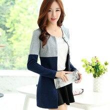 Кардиган женщин Весна и осень шить мода повседневная с длинными рукавами кардиганы Сращивание вязаный свитер большие размеры M-4XL bs