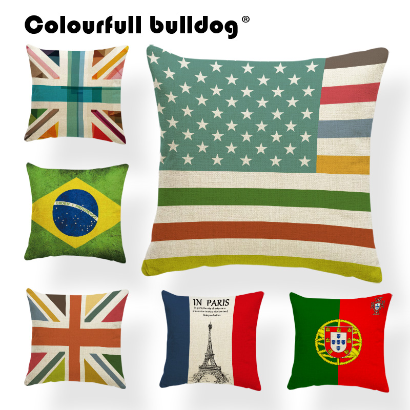 Brazil Flag Cushion Case Wave Point Pillowcase Cute Office For Teens West Germany Toss Pillow France 45Cm Custom Printed Pillow
