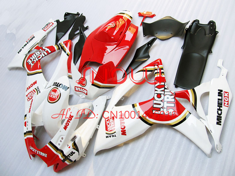 Red/White Lucky for SUZUKI GSX R600 R750 06-<font><b>07</b></font> <font><b>GSXR</b></font> <font><b>600</b></font> 750 GSXR600 GSXR750 GSX-R600 GSX-R750 K6 06 <font><b>07</b></font> 2006 2007 <font><b>Fairing</b></font> <font><b>Kit</b></font> image