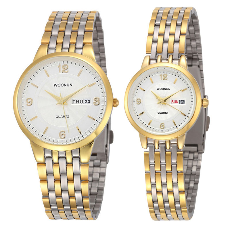 New Couple Watches WOONUN Top Brand Luxury Gold Ultra Thin Quartz Watches Women Men Lovers Watch Set Valentine Gift top brand luxury couple watches for lovers pair men and women leather strap quartz watch woman s man s ultra thin watch