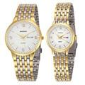 Novo casal relógios woonun top marca de luxo de ouro ultra fino relógios de quartzo dos homens das mulheres amantes assistir jogo do presente dos namorados