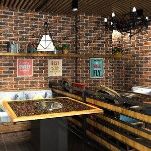 Image 2 - מותאם אישית 3D סטריאו רטרו חיקוי בריק טפט קפה בית קפה מסעדה בר אדום בריק טפט ביתי שיפור דקור