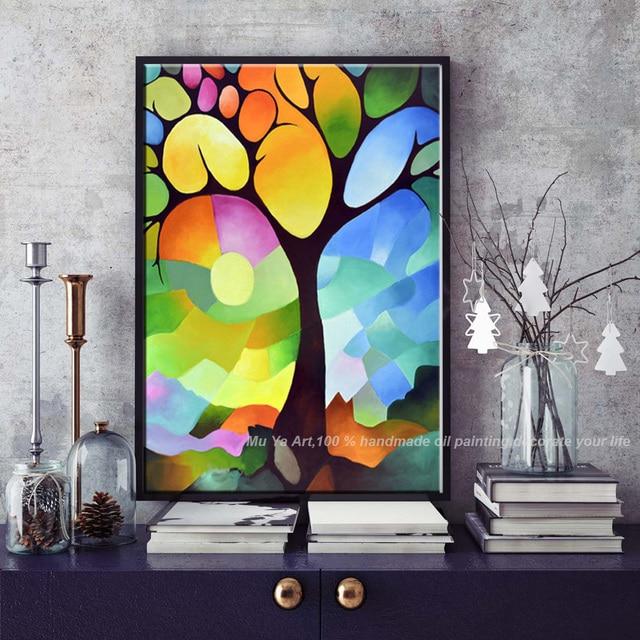 Vertical abstractas pintura moderna del árbol pintura al óleo lienzo ...