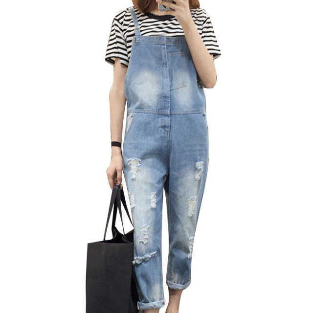 Top Quality Women Jumpsuit 2017 Summer Washed Vintage Hole Denim Female Overalls Blue Ripped Pockets Full Length Jumpsuit
