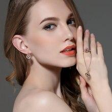 3 Colors Luxury Gold Color Flower Stud Earrings