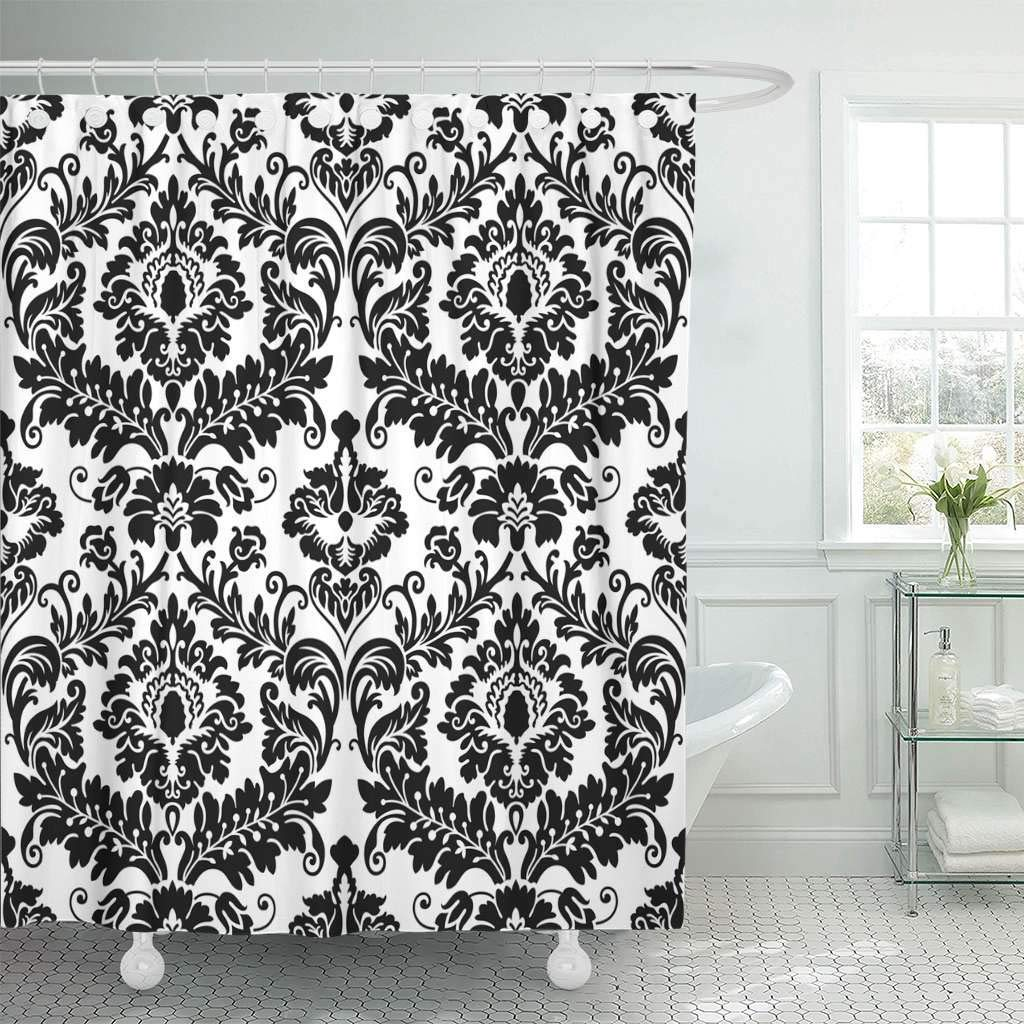 Us 18 73 25 Off Fabric Shower Curtain With Hooks Floral Black Damask Pattern Abstract Antique Baroque Carpet Classical Curve Elegance Decorative In