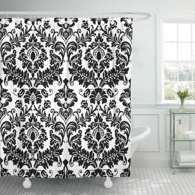 Fabric Shower Curtain With Hooks Floral Black Damask Pattern Abstract  Antique Baroque Carpet Classical Curve Elegance Decorative