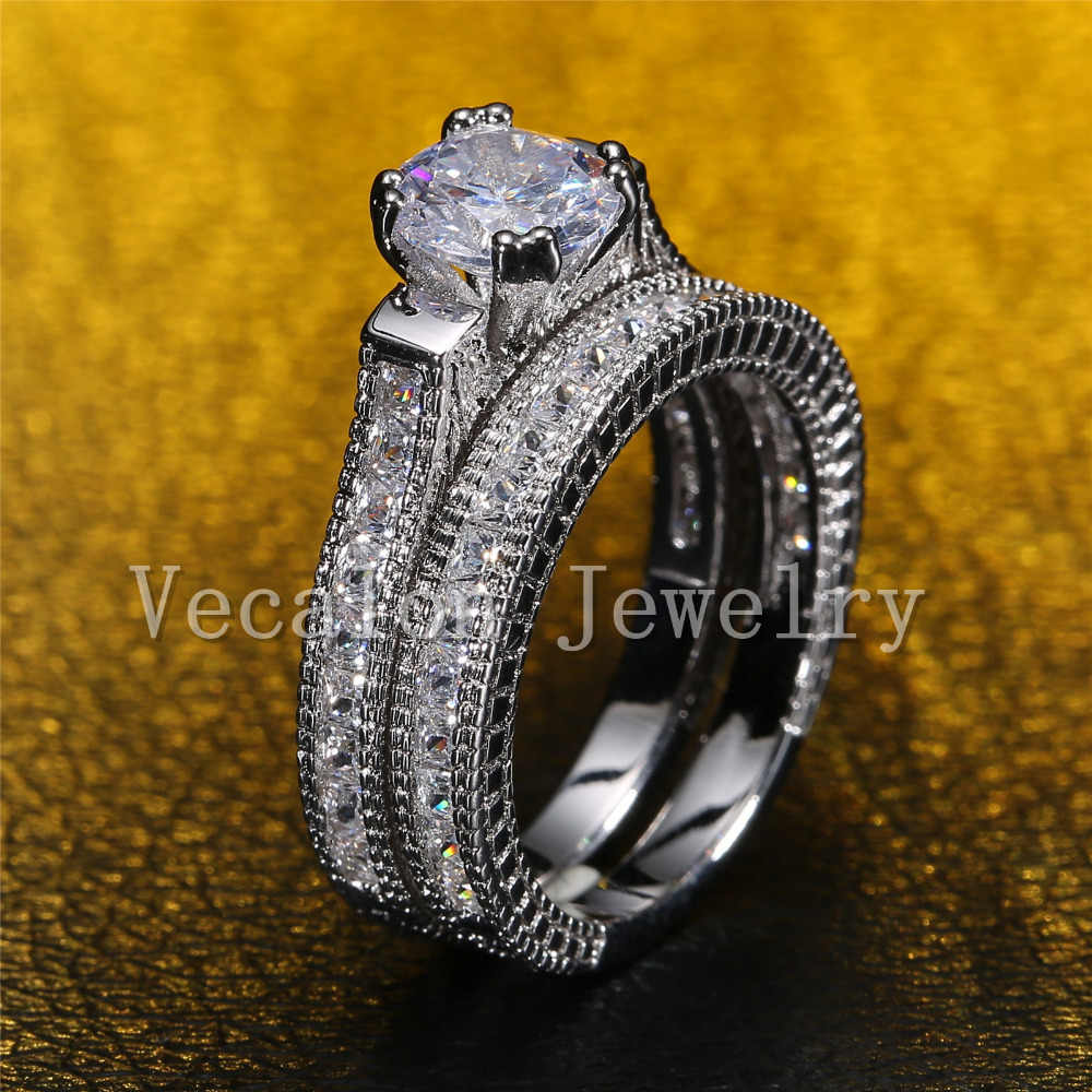 Vecalonรอบตัด3ct AAAAAเพทายCz 2-in-1หมั้นแต่งงานแหวนชุดสำหรับผู้หญิง14KTทองที่เต็มไปแหวน
