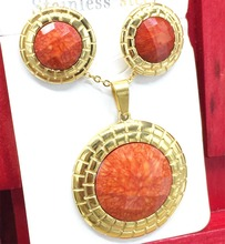 Stainless Steel Jewellry Round Shape Orange Stone Set Gold Plated Earring and Pendant Necklace Set For Women