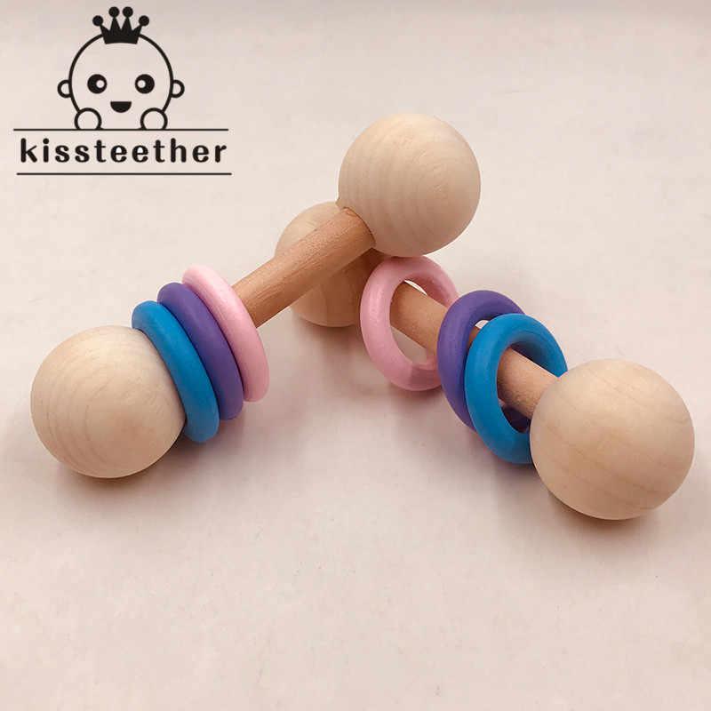 Деревянный прорезыватель погремушка Монтессори детские развивающие игры игрушки с тремя кольцами Прорезыватель игрушки Детские принадлежности для кормления игрушки-Жвачки подарки