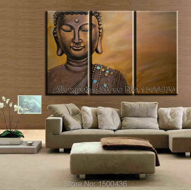 Hand Painted Chinese Buddha Canvas Painting Abstract Set 3 Piece Oil ...