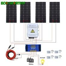 ECOWORTHY 400W güneş sistemi: 4 adet 100W mono güneş enerjisi paneli ve 60A denetleyici ve 4 string PV birleştirici kutusu şarj 12V pil