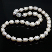 Lovely White Natural Freshwater Barrel Beautiful Rice Pearl Beads High Grade Necklalce Women Jewelry 18inch B1457