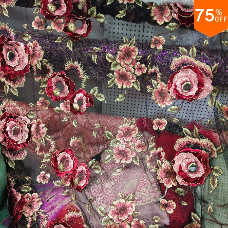 New Blue Or Black Luxury Embroidery Buckle Design Lotus Flowers Many Layers DIY 3D Hand Work Of Art Tulle Back Sheet Curtains