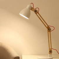 Long arm folding Table Lamps button switch study desk Nordic solid wood bedroom fashionable decorative desk lamp LU824441