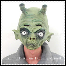Free shipping Halloween Cosplay UFO Alien Full Head Horror Mask Creepy Extra Realistic Terrestrial ET Latex Masks Party Costume