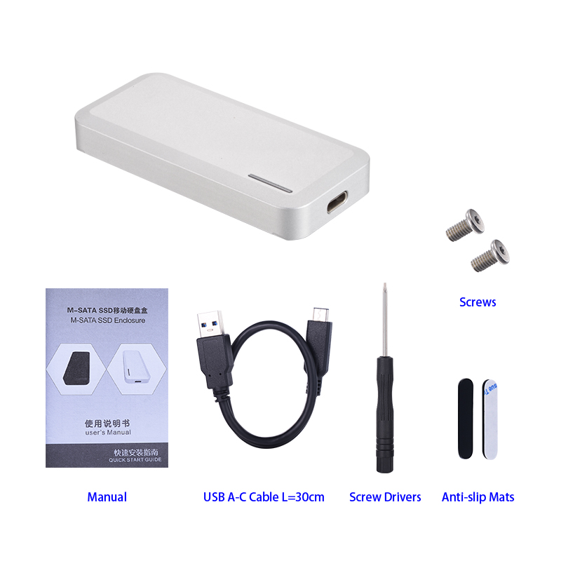 CNC Aluminum Alloy mSATA to USB3.1(10Gbps) Type-C/USB-C SSD Enclosure Adapter Case, Built-in ASM235CM Controller, Support ASAP