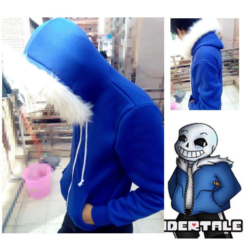 Anime Spiel Undertale sans blauw mantel cosplay jacke kostuum Unisex hoodie sweatshirts mann rits hoodies top sweatshirt winterjas