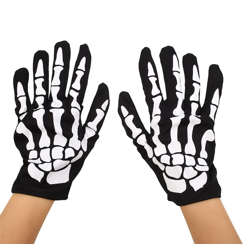 Adults Unisex Fashion Horror Skull Ghost Gloves Scared Halloween Party Hand Wears Hand Cover Props mischievous Funny Fancy Cool