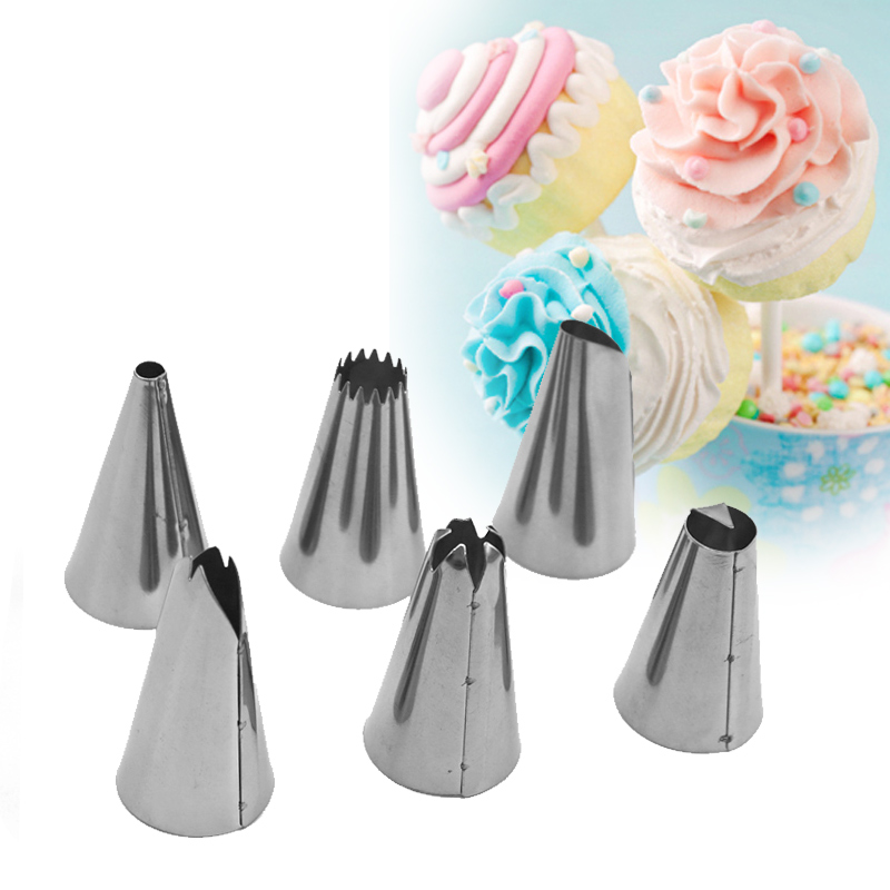 US $3.1 25% OFF|1Set Fondant Cake Decorating Tools=6 Stainless Steel Nozzle  +1 Pastry Bag+1 Conversion Head Baking Tools For Cakes Design Icing-in ...