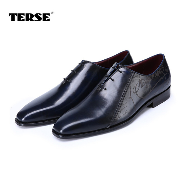 TERSE_Goodyear welted handmade leather dress shoes top genuine leather formal mens shoes in blue gentleman shoes T815770N0026