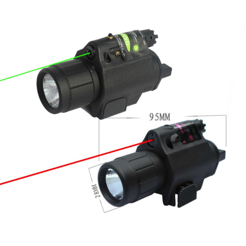 Hunting Camping 9908 Red Green Gun lighting equipm Flashlight Tactical Insight Red Laser CREE Q5 LED flashlight For Pistol