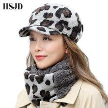New Vintage Woolen Leopard Print Captain Hat Women Flat Top Winter Cap Beret Hat Scarf Set Female Thick Baseball Cap Painter Hat
