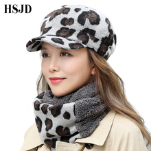 Nowy Vintage wełniany wzór w cętki czapka kapitana kobiety płasko zakończony czapka zimowa Beret kapelusz zestaw szalików kobieta gruba czapka z daszkiem czapka malarza
