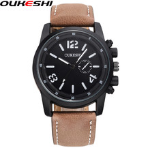 OUKESHI Brand Fashion Mens Sport Watches Casual Leather Strap Military Quartz Watch Waterproof Clock Relogio Masculino
