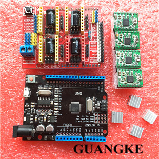 1set CNC Shield Expansion Board 3D Printer + 4 x A4988 Stepper Motor Driver with Heat Sink + micro usb UNO R3