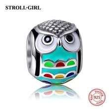 Fit Authentic Pandora Bracelet Silver 925 Original Enamel & CZ Animal Owl Charm Beads Pendant Sterling-Silver-Jewelry for Women стоимость