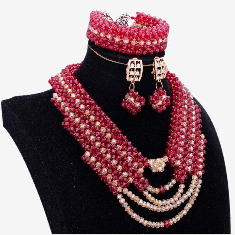 Ensembles de bijoux en gros Dubai plaqué or et vin rouge foncé collier ensemble pour la fête 2018 à la main Fine bijoux ensembles pour les femmes