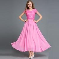 New summer women's Chiffon pink dress ladies big swing short sleeve maxi lace dress sexy club dress long office dress