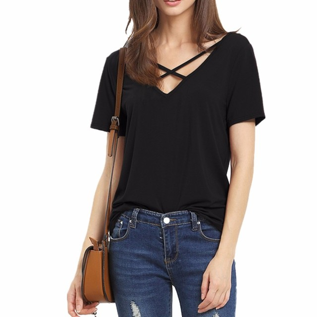 b8bd14de01f7 ZSIIBO NVTX57 Summer T Shirt Women Short Sleeve V Neck Bandage TShirt Casual  Sexy Women T